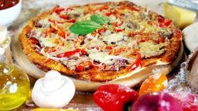 Fresh baked homemade pizza stock video