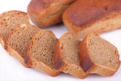 Fresh baked homemade rye bread isolated on white Royalty Free Stock Photo