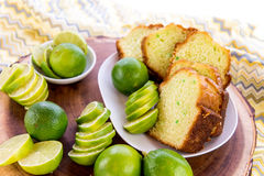 Fresh baked key lime pudding cake Royalty Free Stock Photos