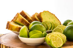 Fresh baked key lime pudding cake Royalty Free Stock Images