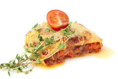 Fresh baked lasagna on plate Royalty Free Stock Photos