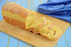 Fresh baked loaf bread. Fresh baked loaf of cinnamon bread Royalty Free Stock Image