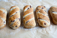 Fresh baked loaf with chocolate drops Royalty Free Stock Images