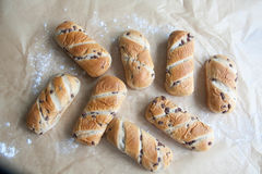 Fresh baked loaf with chocolate drops Royalty Free Stock Photo