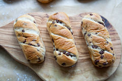 Fresh baked loaf with chocolate drops Stock Photography
