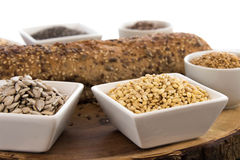 A fresh baked loaf of whole grains bread. With poppy, flax and sunflower seeds Royalty Free Stock Image