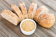 A fresh baked loaf of whole grains bread Stock Images