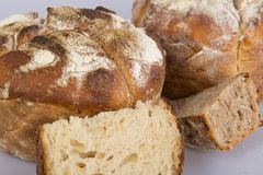 Fresh baked loafs of sour dough bread Royalty Free Stock Photos