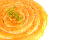 Fresh baked mediterranean pastry pie, filled with cheese, garnis. Hed with dill Royalty Free Stock Images