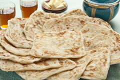 Fresh baked Moroccan Msemen Stock Images