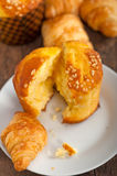 Fresh baked muffin and croissant mignon Stock Image