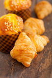 Fresh baked muffin and croissant mignon Stock Photo