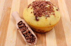 Fresh baked muffin and grated chocolate on wooden spoon Royalty Free Stock Images