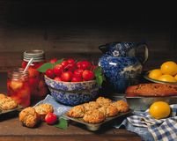 Fresh baked muffins & bread stock image