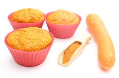 Fresh baked muffins with carrot and powdery cinnamon Stock Photography