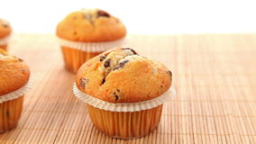 Fresh baked muffins with chocolate stock video