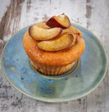 Fresh baked muffins with plums on plate, delicious dessert Royalty Free Stock Photo