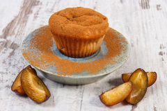 Fresh baked muffins with plums and powdery cinnamon on plate, delicious dessert Stock Image