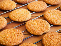 Fresh baked oatmeal cookies on metal cooling rack Stock Photo