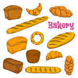 Fresh baked pastries and bread sketch icons Royalty Free Stock Images