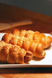 Fresh baked pastry with sausage Royalty Free Stock Images