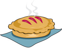 Fresh baked pie with outline. Illustration of a fresh baked pie, still steaming, with black outline vector illustration