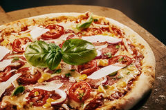 Fresh Baked Pizza Served on Wooden Pizza Paddle Royalty Free Stock Image