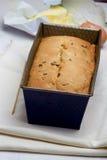 Fresh baked pound cake. With raisins royalty free stock photography
