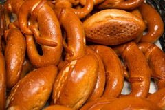 Fresh baked pretzel background food Stock Photo