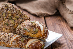 Fresh baked Pretzel Rolls (with seeds) Stock Photo