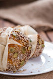 Fresh baked Pretzel Rolls (with seeds) Stock Images