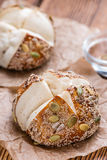 Fresh baked Pretzel Rolls (with seeds) Stock Image