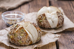Fresh baked Pretzel Rolls (with seeds) Stock Photos