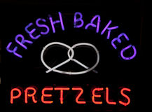 Fresh Baked Pretzels Neon Sign Royalty Free Stock Images