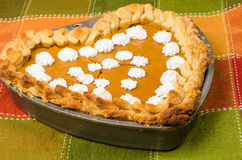 Heart shaped pumpkin pie Royalty Free Stock Photo