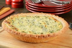 Fresh baked Quiche Florentine Stock Photography