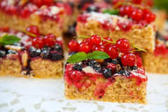 Fresh baked red and black currant berries cake Royalty Free Stock Image