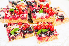 Fresh baked red and black currant berries cake Stock Photos