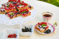 Fresh baked red and black currant berries cake Royalty Free Stock Images
