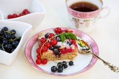 Fresh baked red and black currant berries cake Royalty Free Stock Photo