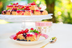 Fresh baked red and black currant berries cake Stock Photo