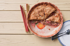 Fresh baked rhubarb pie - top view Royalty Free Stock Image