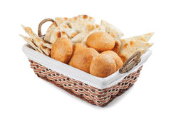 Fresh rolls in a basket. Fresh baked rolls in a basket on white stock photos