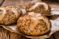 Fresh baked Rolls (with Caraway) Stock Photo