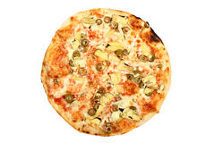 Fresh baked round pizza with olives isolated Royalty Free Stock Photography