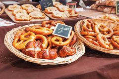 Fresh baked salted pretzels Stock Photography