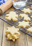 Fresh baked shortbread cookies on a cooling rack Stock Image