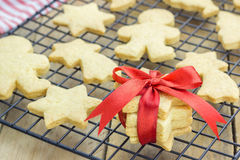 Fresh baked shortbread cookies on a cooling rack Royalty Free Stock Image