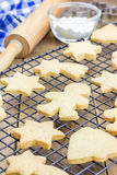 Fresh baked shortbread cookies on a cooling rack Stock Photo
