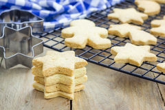 Fresh baked shortbread cookies on a cooling rack Royalty Free Stock Photos